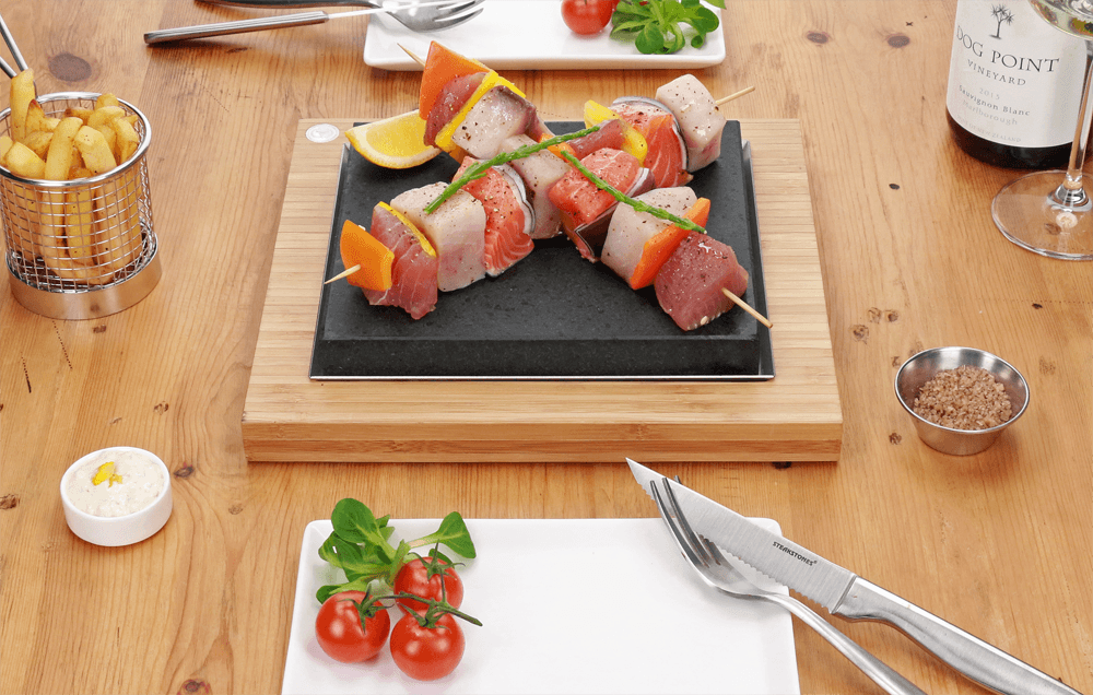 The SteakStones Steak Plate with Fish Skewers (1)