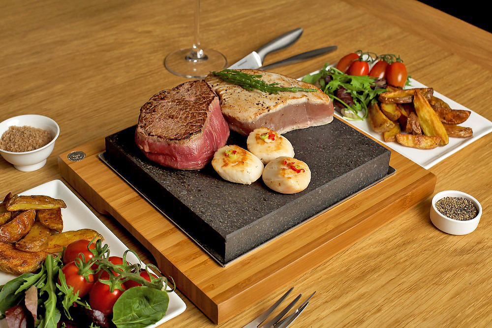 The SteakStones Steak Plate with Seared Tuna, Fillet & Scallops