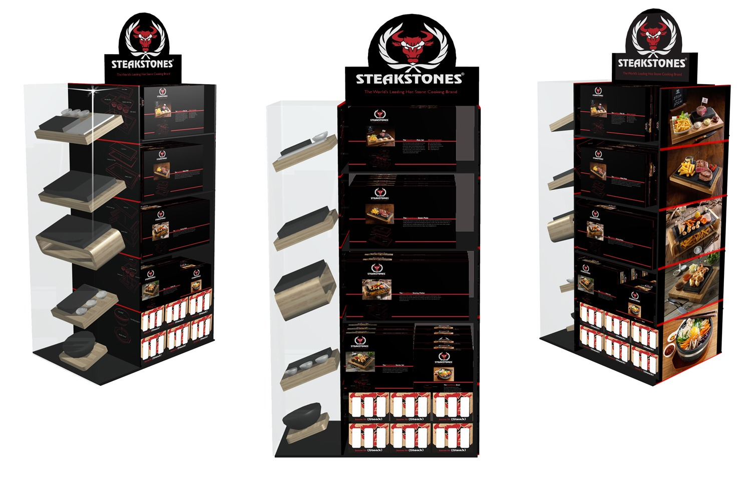 SteakStones Point of Sale display units for retail.