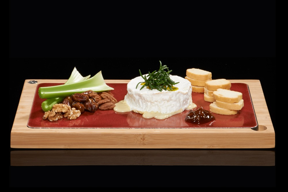The Steakstones Glazed Lava Plate In Red With Hot Camembert