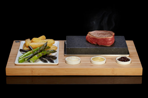 The SteakStones Sizzling Steak Set