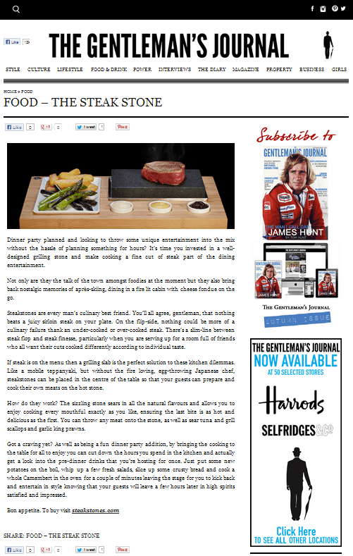 A sizzlingly good review of SteakStones by The Gentleman's Journal