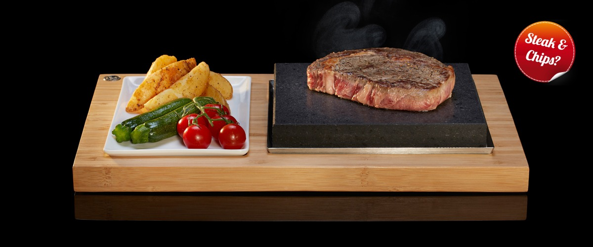 The Sizzling Steak Plate set from SteakStones, Home of Hot Stone Cooking