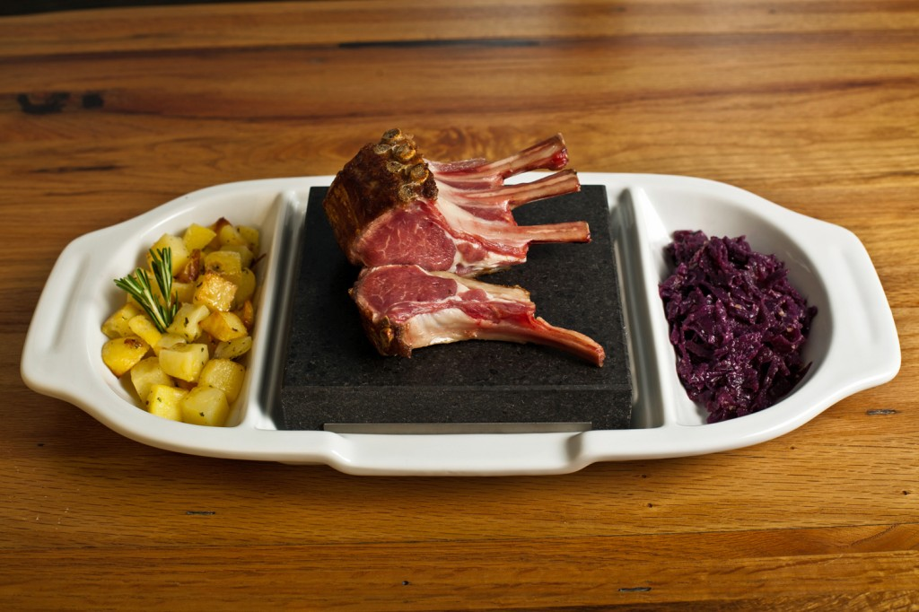 Rack of Lamb on the SteakStones Ceramic Double Platter