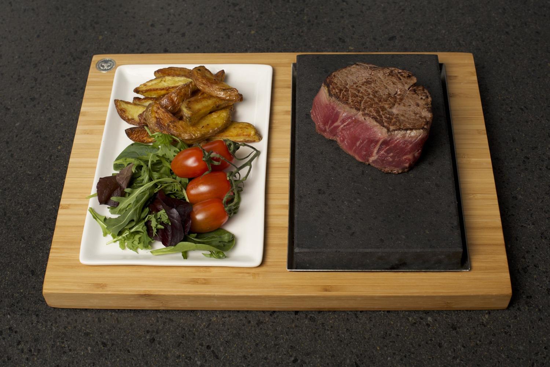 Fillet Steak, Potato Wedges & Salad on the SteakStones Steak & Sides Set