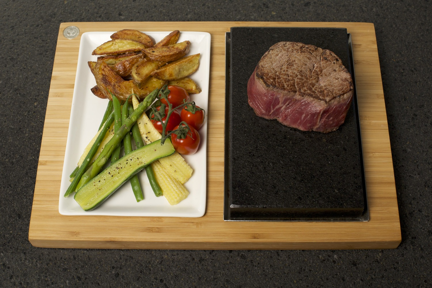 Fillet Steak, Potato Wedges & Seasonal Vegetables on the SteakStones Steak & Sides Set