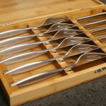 A stunning set of 8 solid stainless steel Steak Knives & Forks presented in an attractive bamboo box. The perfect gift for any steak lover, our one piece stainless steel Steak Knives will add to the enjoyment of any Steak meal and are perfect whether used inside for dinner parties or outside for barbecues. Available in a set of 4 Steak Knives and 4 Steak Forks presented inside a sustainable bamboo presentation box making them ideal as a gift.