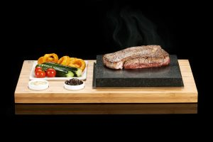 The SteakStones Plate & Sauces Set with Rib-Eye