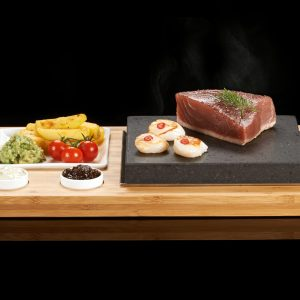 The SteakStones Plate & Sauces Set with Tuna & Scallops