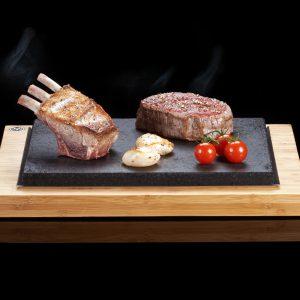 The SteakStones Steak Sharer with Fillet, Lamb Rack & Scallops