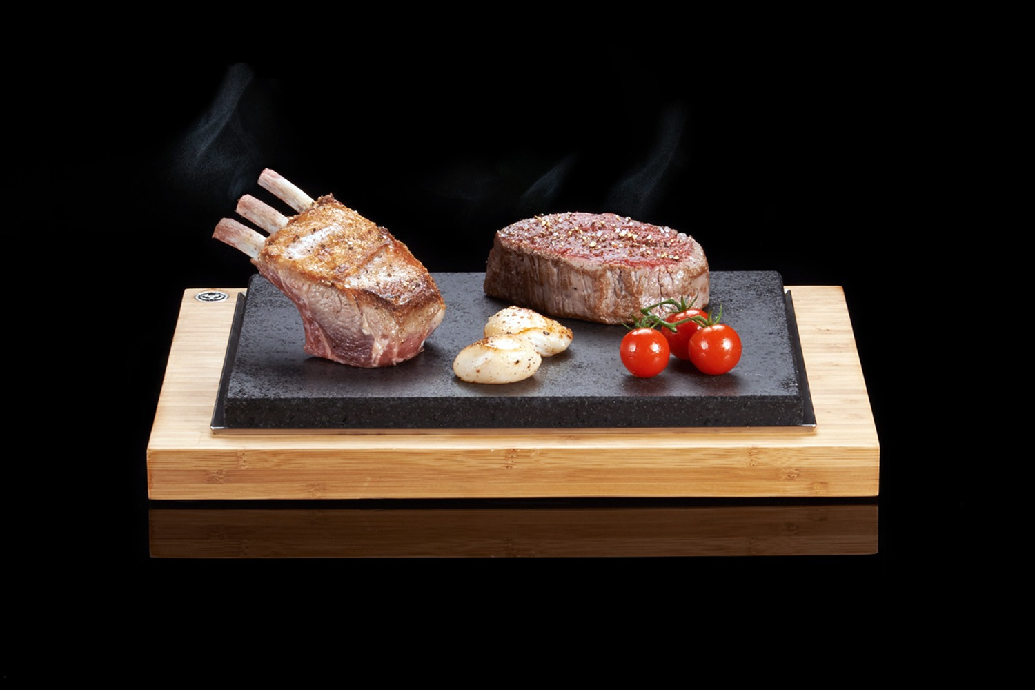 The SteakStones Steak Sharer with Fillet, Lamb Rack & Scallops