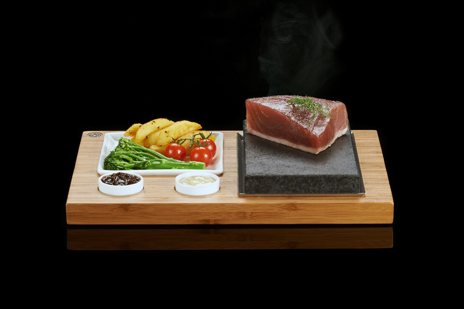 The SteakStones Steak, Sides & Sauces Set with Tuna