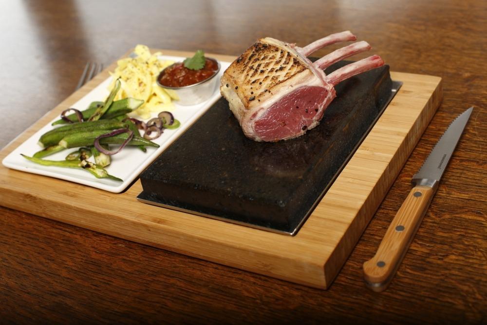 SteakStones Baby Rack of Lamb with Asian Coleslaw on SteakStones Steak and Side Set