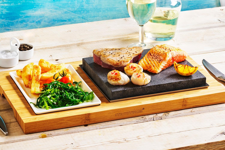 Tuna, Salmon and Scallops on the Steak Plate Set