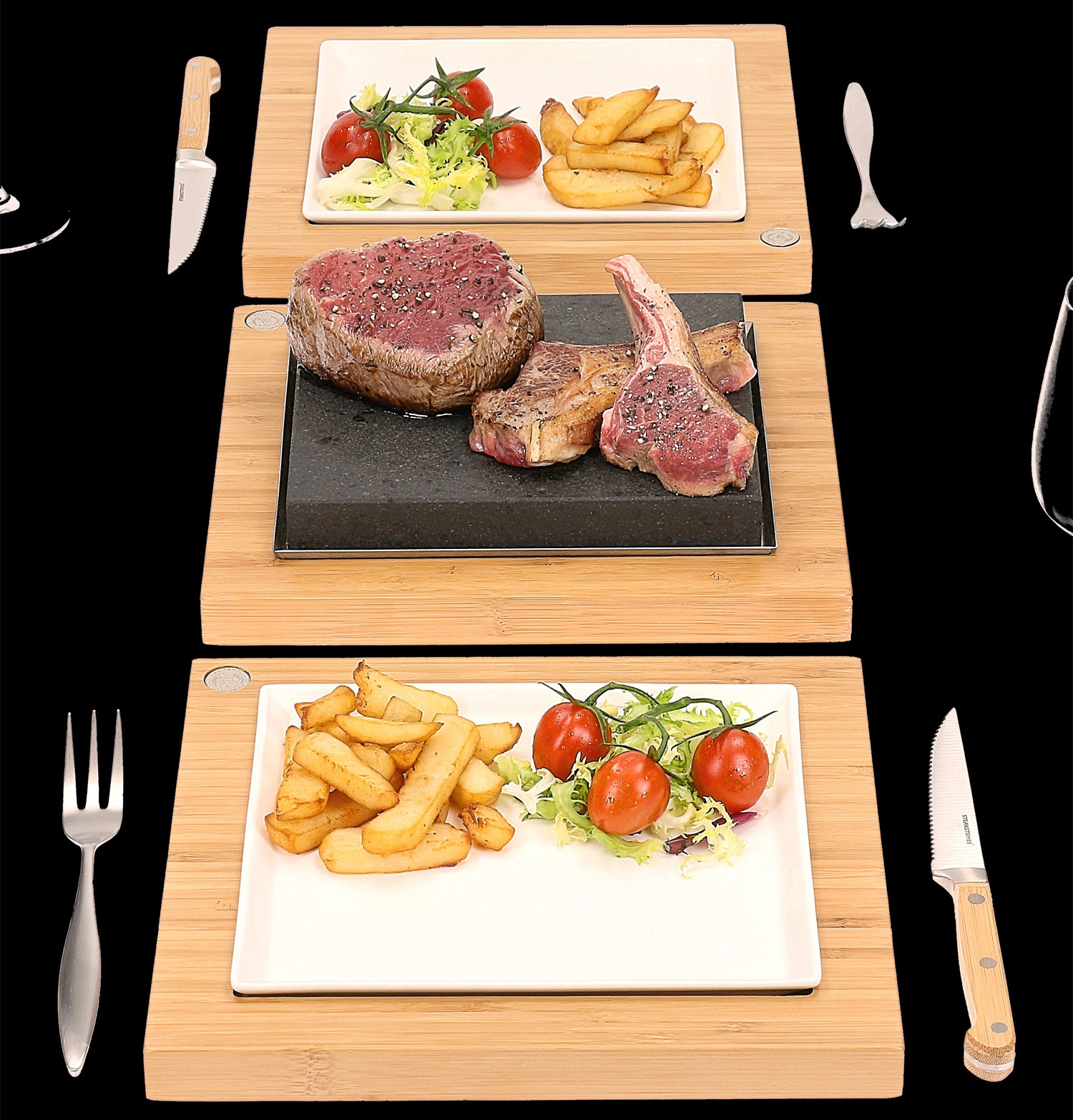 The SteakStones Steak Plate and Serving Sets