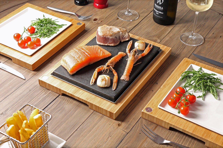 Salmon & Tuna Steaks with Langoustones on the Steak Sharer by SteakStones 1500