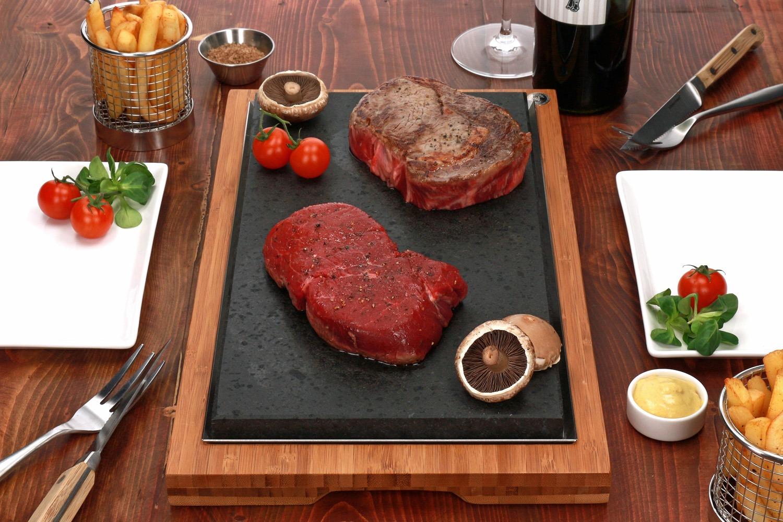 RibEye, Mushrooms and Tomato on the Sharing Steak Plate