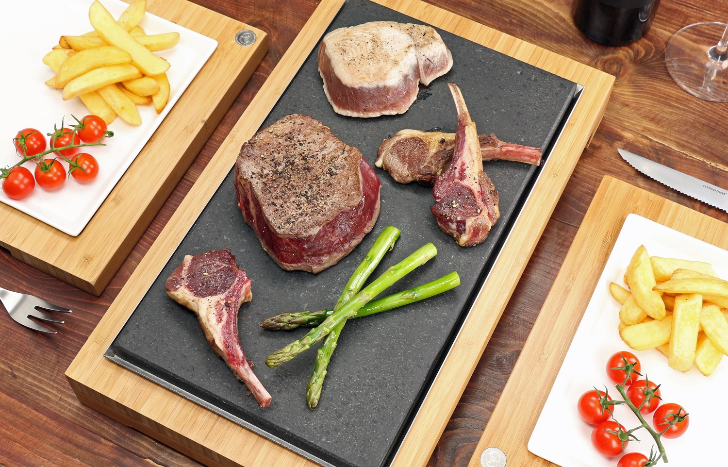 Fillet & Tuna Steak and Lamb Cutlets on the Raised Sharing Steak Plate