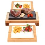 The Raised Steak Sharer & Server Sets. Fillet Steak, Scallops and Tuna Sizzling on Steak on the Stones Lava Stone Cooking Products. The best Hot Rocks cooking products guaranteed. Bamboo and ceramic serving sets offer the more versatility than Black Rock Grill products.