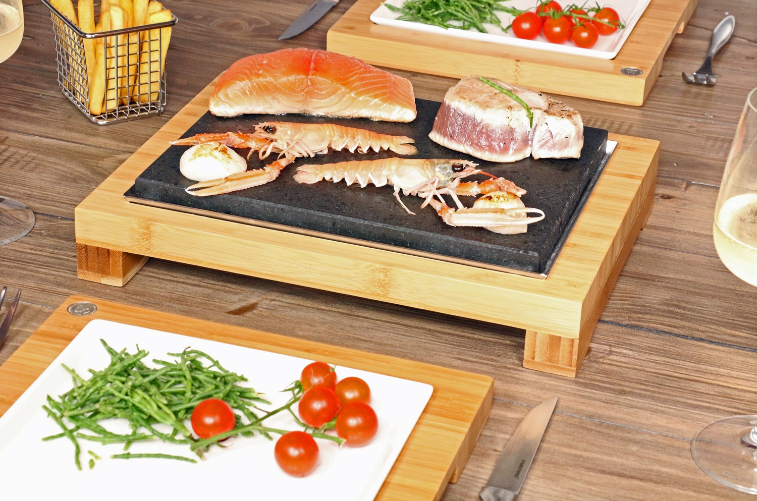 The Raised Steak Sharer with Sizzling Salmon & Fillet Steaks from SteakStones