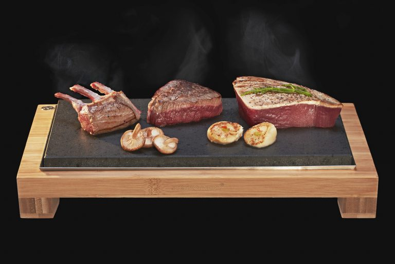 Fillet Steak, Rack of Lamb and Tuna Sizzling on SteakStones Hot Stone Cooking Products. The best Lava Stone Cooking products guaranteed.