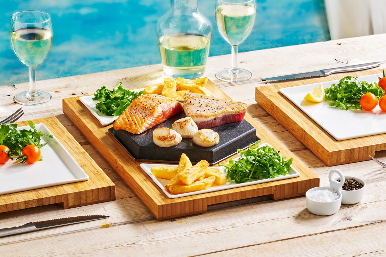 Tuna, Salmon & Scallops on The SteakStones Hex Steak Set